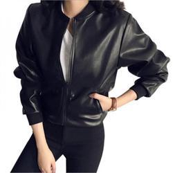 Shengshi Female 2018 New Design Spring Autumn PU Leather Jacket Faux Soft Jacket Slim Black Rivet Zipper Motorcycle Black Jackets Black