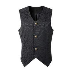 MIARHB Men Punk Jacket Vintage Overcoat Outwear Button Tailcoat Vest Coat Men Coat