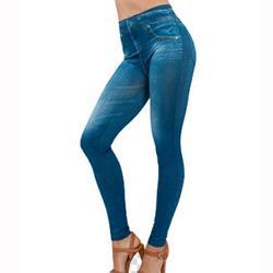 Women's Denim Print Fake Jeans Seamless Full Length Leggings, Women's Stretch Pull-On Skinny Denim Jeggings with Pockets Plus Size L-3XL, Blue