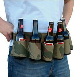 Romacci Outdoor Six Pack Beer Bottle Belt Portable Beverage Waist Bag Camping Gathering Drink Soda Cans Holder Hands Free Drink Carrier Belt