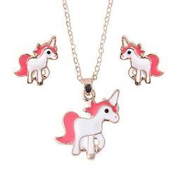 Unicorn Necklace Set White Pink/Red Earring Necklace Unicorn Girls Jewelry, J-154-US