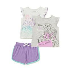 Disney Princess Baby Girls & Toddler Girls Flutter Sleeve Tank Tops & Shorts, 3-Piece Outfit Set, Sizes 12M-5T
