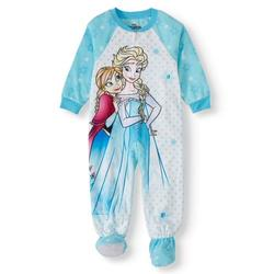 Disney Frozen Toddler Girl Anna & Elsa Microfleece Blanket Sleeper Pajamas