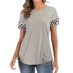 KOLCY Womens Crewneck Short Sleeve Tee Leopard Color Block Stripe Short Sleeve T Shirt Top Tunic Comfy Blouse Tunic Short Sleeve T-Shirt