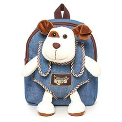 Kids Backpack w Stuffed Animal Dog Plush Toy Cute Toddler Backpack for Boys Denim Backpack for Kids - Toys for Kids Ages 3 4 5 6 Toys for 3 Year Old Boys Puppy Backpacks - 4 Year Old Girl Backpac