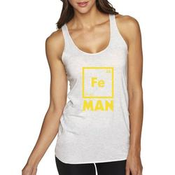 True Way 1261 - Women's Tank-Top Iron Man Fe 26 Periodic Table Science Chemistry Small White