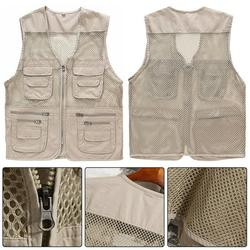Windfall Fishing Vest for Men,Summer Quick-Drying Breathable Mesh Beige Vest Men Jacket Multi-Pockets Outdoors Vests for Fishing,Hunting, Hiking, Climbing, Traveling, Photography Camera Waistcoat