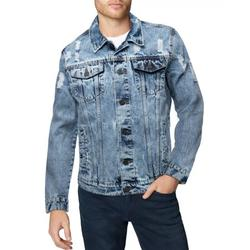 X RAY Mens Denim Jacket Washed Casual Trucker Jean Jacket for Men, Acid Stone - Ripped Distressed, Large