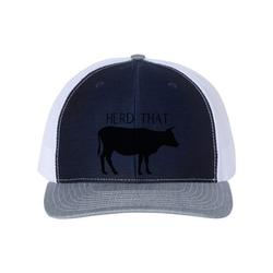 Cattle Hat, Herd That, Dairy Cattle, Beef Hat, Cattle Farmer Hat, Farm Hat, Trucker Hat, Baseball Cap, 10 Color Options!, Cows, Black Text, Navy/White/Heather
