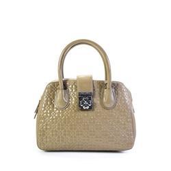 Pre-ownedFolli Follie Womens Patent Leather Clover Print Large Satchel Handbag Gray