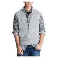 Ralph Lauren Polo Mens Pima Cotton Full Zip Sweater Vest , Grey , Size : Large