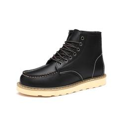 Daeful Men Leather Boots Motorcycle Shoes Martins Boots Shoe Lace-Up Ankle Boot