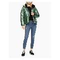Calvin Klein Women's Solid Sherpa Lined Hooded Puffer Jacket,Metal Green,XL