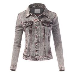 FashionMille Women Slim Fit Button Down Washed Denim Jean Jacket