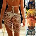 Women Fishnet Crochet Bikini Cover Up Swimwear Shell Sarong Wrap Beach Dress
