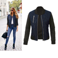 Bomber Jackets for Ladies Casual Long Sleeve Women Patchwork Jackets Zipper Up Outerwear