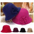 SPRING PARK Winter Women's Retro hat with flower Artificial Wool Felt Cloche Bucket Hat