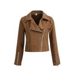 Gueuusu Women's Faux Leather Jacket Slim Moto Biker Cardigan Zipper Short Coat