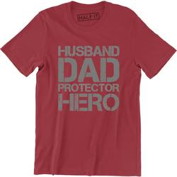 Husband Dad Protector Hero Fathers Day Dad Daddy Birthday Men's T-Shirt