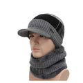 2-Pieces Winter Beanie Hat Scarf Set Warm Knit Hat Thick Fleece Lined Winter Hat & Scarf For Men Women