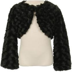 Big Girls Cute Fluffy Chenille Fur Flower Girls Bolero Jacket Coat (10GG7) Black 12