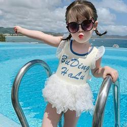 Baby Girl One Piece Swimsuit Cartoon Print Swimwear Girls' Cute Open-back Lace Mesh Gauze One-piece Swimsuit