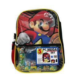 "Kids Super Mario 16"" Large Backpack Set 5-Piece Set School Supplies Combo"