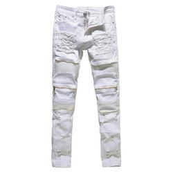 Calsunbaby Men's Distressed Ripped Biker Moto Denim Pants Slim Fit Jeans White 36
