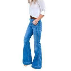Avamo Women Flare Jeans Stretch Bootcut Denim Pants Jeggings Female High Waist Denim Jeans Skinny Slim Retro Jeans