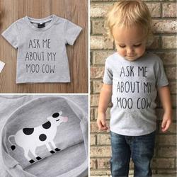 Newborn Kids Baby Boy Girl Cute Funny Short Sleeved Letter Printed Cartoon Animal Top T-shirt Summer Casual Cotton Clothes