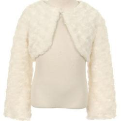 Big Girls Cute Fluffy Chenille Fur Flower Girls Bolero Jacket Coat (10GG7) Ivory 12