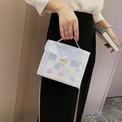 Women Transparent PVC Shoulder Bag Chain Shoulder Sheer Holiday Beach Crossbody Bag Casual Messenger Bag Handbag