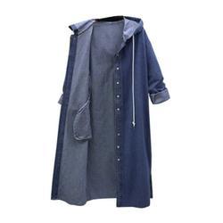 TOYFUNNY Women Hooded Casual Long Sleeve Denim Jacket Long Jean Coat Outwear Overcoat