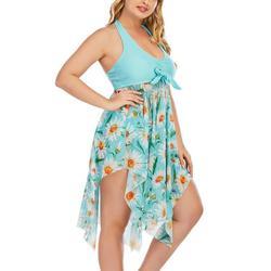 Sexy Dance Plus Size Women Two-piece Swimsuit Floral Print Swimdress Swimwear Tummy Control Tankini Set Halter Neck Backless Padded Bathing Suit Beachwear Bathing Suit Swimming Costume L-5XL