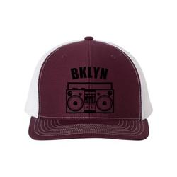 Brooklyn Hat, BKLYN, Boombox Hat, Retro Hat, Trucker Hat, Brooklyn Snapback, New York Hat, Adjustable Cap, Bklyn Hat, 90's Hat, Black Text, Maroon/White