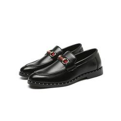 Rotosw Men's Metal Buckle Loafers Leather Shoes Driving Moccasins Slip On Casual Shoes