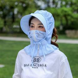 Hat female sun hat summer sun hat female UV protection new wild cover face big hat eaves riding sun hat Blue M(56-58cm)