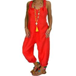 Sexy Dance Women Oversized Rompers Lightweight Solid Suspender Jumpsuits Cotton Linen Loose Rompers