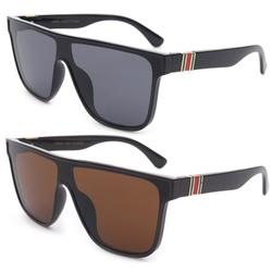 2 Packs Newbee Fashion One Piece Lens Square Vintage Rimless Large Frame Fashion Sunglasses for Women, Men, Junior Teen, Retro Flat Top Shield Design, Black & Brown