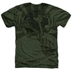 Trevco DRT104-HAPC-3 Dragon Tales & Dragon Flight Adult Regular Fit Heather Short Sleeve T-Shirt, Military Green - Large