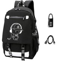 School bag, backpack, sports school bag, leisure backpack, Luminous backpack with USB charger port, student backpack for girls, boys, teenagers, children, women, men Black