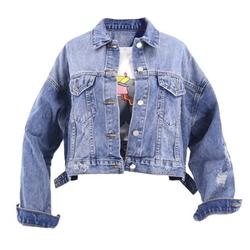 Ladys Short denim jacket and jeans summer jacket for women with holes in them UK