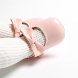Baby-Girls Bowknot Mary Jane Flat Dress Shoes Party Wedding Shoes Baby Crib Shoes for Girl 0-18 Month Toddler School Uniform Shoes Flower Girl Ballet First Walking Soft Soled Princess Shoes