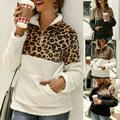 Winter Fleece Sweater Fashion Leopard Patchwork Fluffy Thick Sweaters Warm Zipper Pullovers Women Winter Coat Sherpa Tops