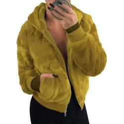 Sexy Dance Winter Sherpa Hooded Jacket Coat for Women Long Sleeve Zip Up Outwear Ladies Warm Fluffy Short Jackets