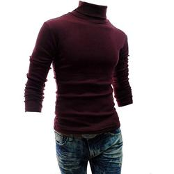 One Opening Men Roll Turtle Neck Pullover Knitted Jumper Tops Sweater Shirt