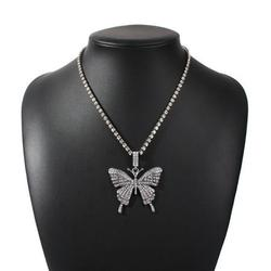 Butterfly Necklace Chain Vintage Rhinestone Butterfly Pendant Necklace for Women