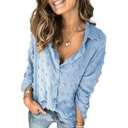 Dokotoo Women's Chiffon Blouses Long Sleeve Button Down Pom Pom Shirts Tops Size Large US 12-14
