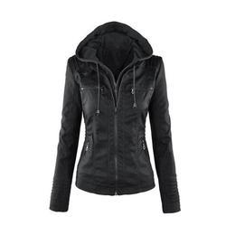 Women's imitation leather jacket short coat jacket motorcycle jacket OLRIK P005