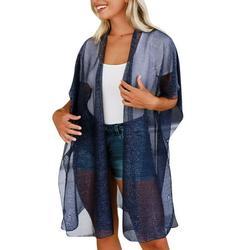 Avamo Womens Draped Open-Front Long Cardigan Kimono Chiffon Lightweight Summer Short Sleeve Beach Tulle Cardigan Long Top Dark Blue XL(US 12-14)